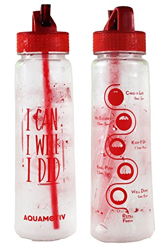 """30 oz Flip Straw """"I Can, I Will, I Did"""" Inspirational Water Bottle with Motivational Time Tracker 