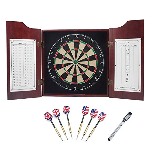 Solid Wood Dartboard Cabinet Set with Bristle Dartboard and 6 Steel Tip Darts (Oak/Mahogany)...