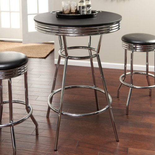 amazoncom roundhill furniture retro style 3piece chrome metal bar table and stools kitchen u0026 dining