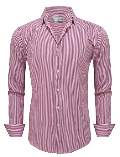 TAM Ware Mens Classic Vertical Striped Fake Pocket Longsleeve Shirts TWCMS01A-ORANGE-M ()