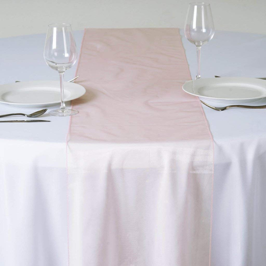 Efavormart Blush Premium Organza Table Top Runner for Weddings Birthday Party Banquets Decor Fit Rectangle and Round Table by Efavormart.com (Image #4)