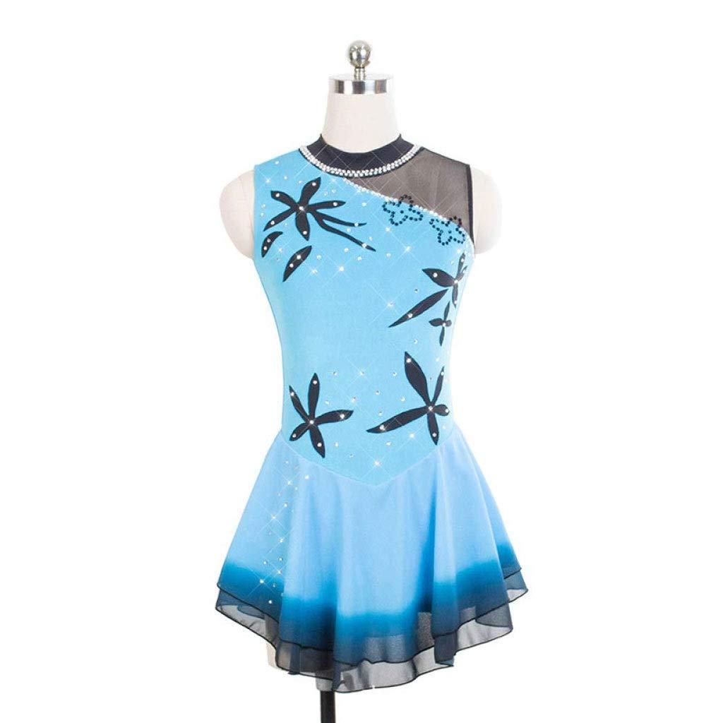 フィギュアスケートドレス、女性の女の子の青いハロー染色エラスタン競争スケート服手作りファッションノースリーブアイススケートドレス ブルー XL