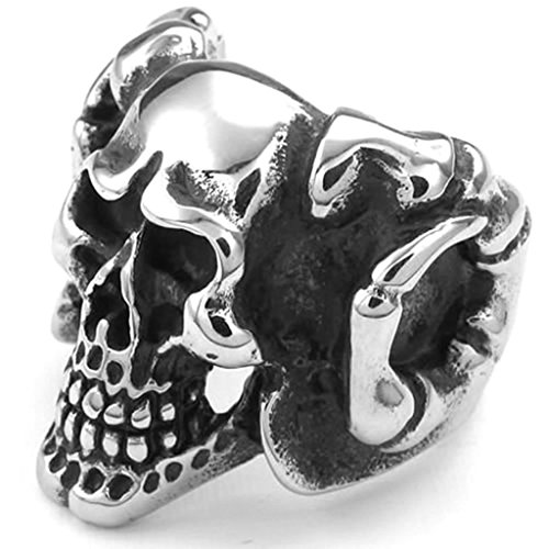 [Daesar Stainless Steel Rings Mens Gothic Rings Silver Black Skull Ring for Men Ring Size:11] (Princess Zelda Costume Ebay)