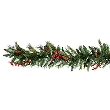 Amazon.com: Cordless Pre-lit Cone & Berry Christmas Garland: Home & Kitchen