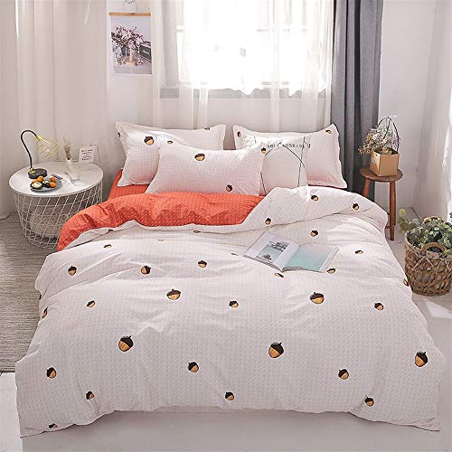 UOUL Sheet Set Cotton Bedding 4 Pieces Pink White Does Not Fade Bedroom Fruit Pattern Comfort Youth Girl Double Single,Pine Cone,Queen