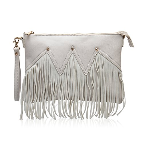 Hynes Victory Fringe Clutch Envelope Chain Purse Wristlet Handbag (Beige)