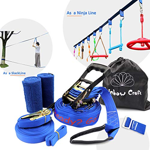 Rainbow Craft Ninjaline Slackline for Obstacle Course Set, with Removable Loops for Kids Backyard Outdoor Play - Printing Ninja Line Type (Best Selling Ds Games Of All Time)