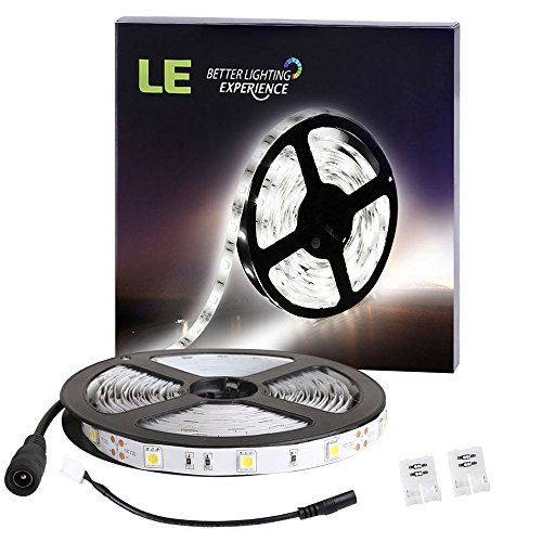 LE 16.4ft Flexible LED Light Strip, 150 Units SMD 5050 LED, 12V DC Non-waterproof, LED Tape Light, 6000K Daylight White LED ribbon, DIY Christmas Holiday Home Kitchen Car Bar Indoor Party Decoration