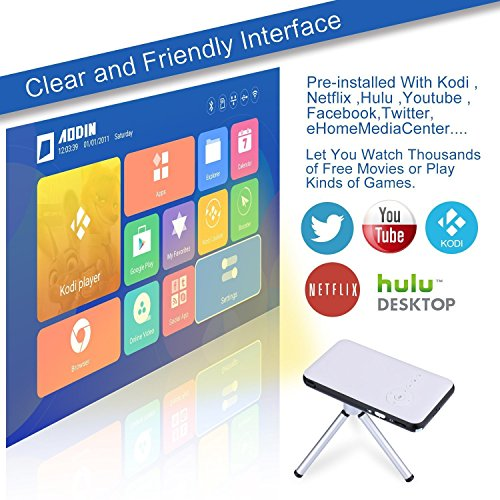 OVTECH Mini Smart Projector Android 4.4 Quad Core Portable DLP 8G with HDMI USB Speaker Bluetooth 4.0 Support Web Browser Netflix Youtobe EShare Function by OVTECH (Image #5)