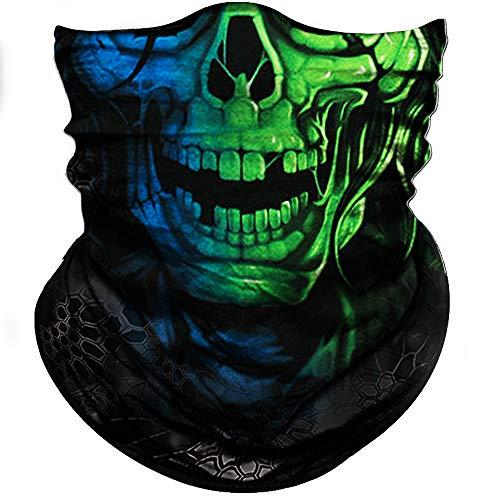 (Obacle Skull Face Mask Half Sun Dust Protection, Vivid 3D Tube Mask Seamless, Durable Face Mask Bandana Skeleton Face Shield Motorcycle Fishing Hunting Cycling Festival Many Pattern (Green Blue)