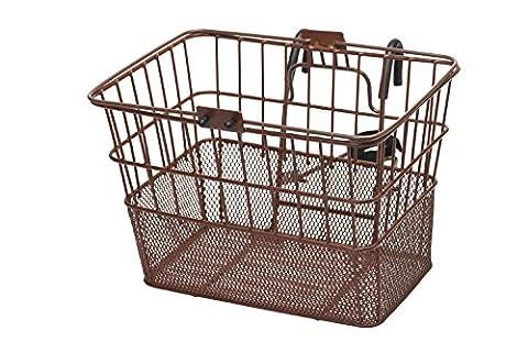Retrospec Detachable Steel Half-Mesh Apollo Lift-Off Bike Basket with Handles, Brown - Schwinn Bike Accessories