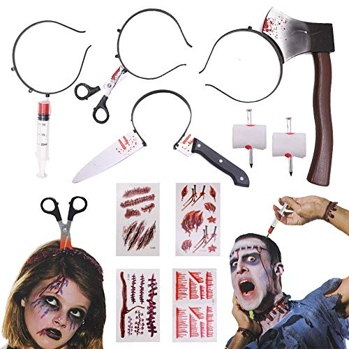 Halloween Headbands,10pcs Halloween Horror Set Zombie Headbands Hair Bands Through Head Headband Zombie Tattoos Stickers Bloody Nail through finger for Tricky Toys Zombie Costume Party Supplies -