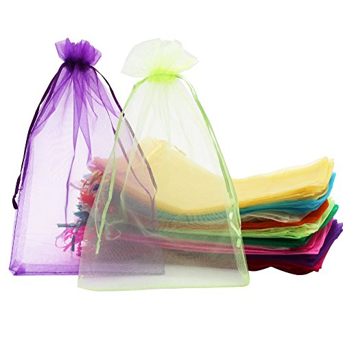 SumDirect 100Pcs 8x12 Inches Mixed Color Organza Gift Bags with Drawstring