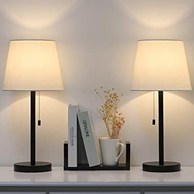 Modern Table Lamp Set of 2, Bedside Lamps for Bedroom, Living Room, Nightstand, Dresser, Desk, Coffee Table, Office