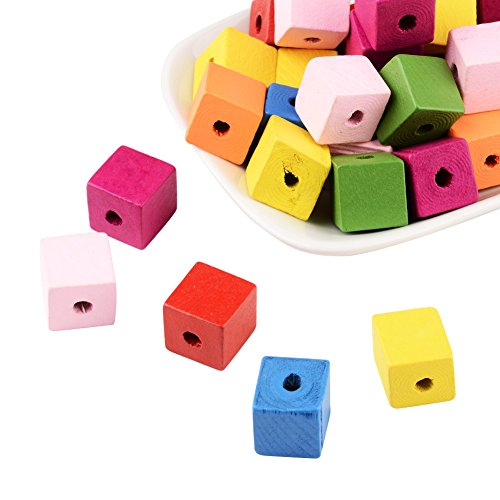 - Pandahall 50 Pcs 14MM Mixed Color Cube Wood Beads, Lead Free, Dyed, about 14mm long, 14mm wide, 14mm thick,hole: 5mm