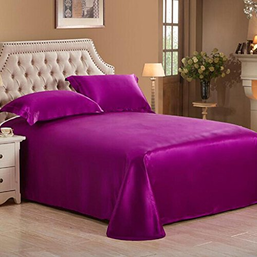 L&M Solid color Silk pieces of four sets 100% Silk Silk Smooth silk Bed sheets quilt 4 sets , purple , 2.0m by WANG (Image #1)