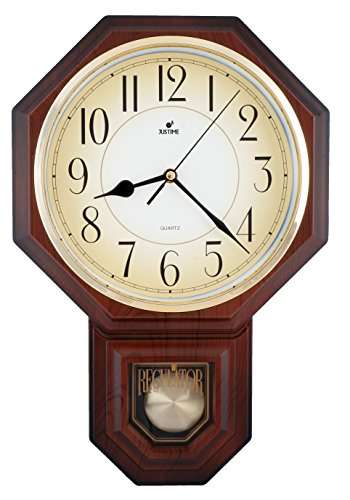 Traditional Schoolhouse Arabic Pendulum Wall Clock Chimes Hourly with Westminster Melody Made in Taiwan, 4AA Batteries Included (PP0258-A Dark Wood Grain)