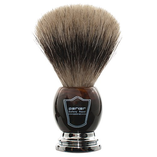 Parker Safety Razor 100% Pure Badger Bristle Faux Horn Handle Shaving Brush...