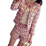 New Autumn Winter Tweed 2 Piece Set Women Slim Plaid Short Set Fashion Fringed Trim Jacket Coat + Tassels Short Suit Pink S