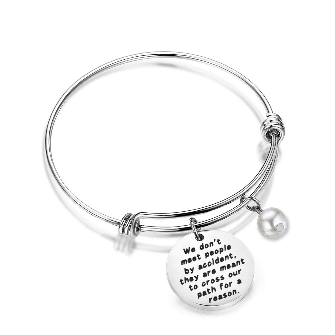 HOLLP Coworker Leaving Gifts Retirement Jewelry We Don't Meet People by Accident They are Meant to Cross Our Path for A Reason Leaving Goodbye Friendship Memorial Bracelet Going Away Gifts (Silver)