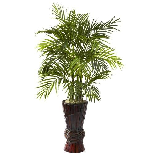 4' Silk Areca Palm w/ Bamboo Planter