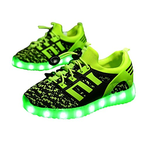 Kids 11 Colors LED Light Up Shoes Flashing Sneakers for Boys Girls (Green 1 M US Little Kid)