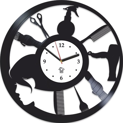 Barbershop Cuts Gallery, Hairstyles 2017, Hairdressers Tools, Vinyl Record Clock, Best Gift For Haircutter, Kovides Vinyl Wall Clock, Vinyl Wall Clock, Modern, Silent Mechanism For Sale