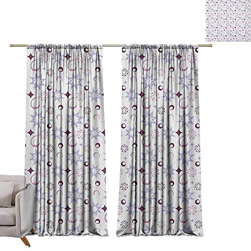 berrly Energy Saving Curtains Winter,Retro Pattern Abstract Snowflake Figures Dots Circles Stars, Eggplant Pale Lavander Dried Rose W108 x L84 Thermal Insulated Draperies ()