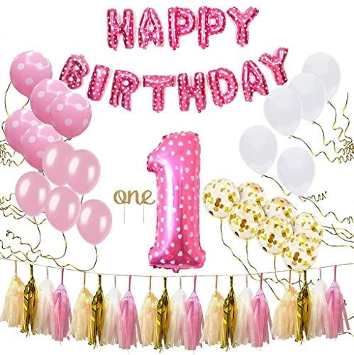 Litaus 1st Birthday Decorations Happy Banner Baby Girl Number 1 Balloon