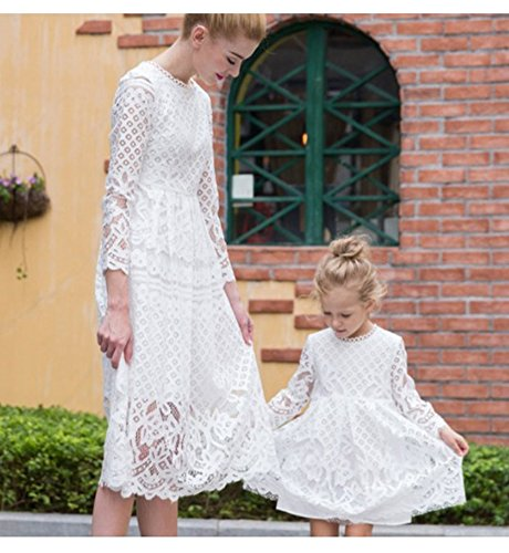 Minetom Los Niños De Encaje Vestido Madre E Hija Padres E Hijos Equipo A-La Falda Manga Larga Cuello Redondo Mini Dress Verano Elegante Mujer: Amazon.es: ...
