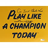 NCAA Notre Dame Fighting Irish Lou Holtz/Charlie Weis Dual Signed Play Like a Champion Today Photograph with Go Irish Inscription, 8x10-Inch