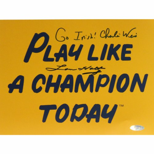 NCAA Notre Dame Fighting Irish Lou Holtz/Charlie Weis Dual Signed Play Like a Champion Today Photograph with Go Irish Inscription, 8x10-Inch by Steiner Sports
