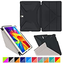"roocase Samsung Galaxy Tab 4 10.5 Case - Origami 3D [Granite Black / Cool Gray] Slim Shell 10.5-Inch 10.5"" Smart Cover with Landscape, Portrait, Typing Stand"