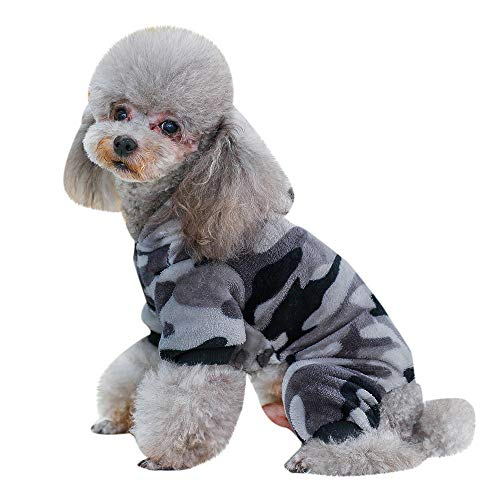 HP95 Camouflage Pet Hoodie Sweater for Small Dog,Puppy Dog Cat Flannel Jumpsuit Dog Winter Hooded Pajamas Four Legs Pet Apparel Clothes -