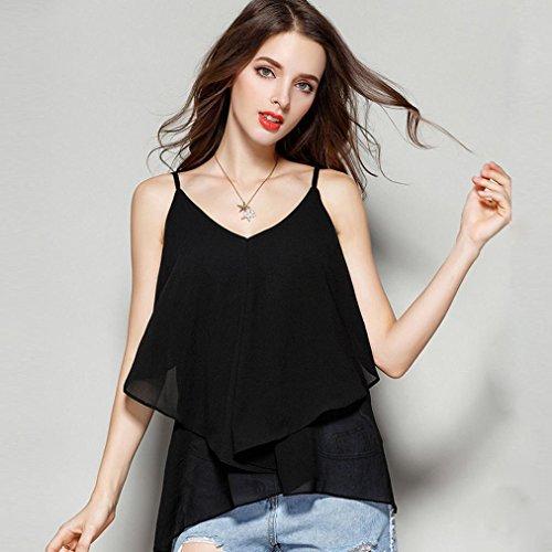 v Mousseline Camisole T Tops Sans Noir Sexyville Chemisier Eté De Manches Débardeur shirt Gilet Soie Femmes Col Casual 14qntwAY