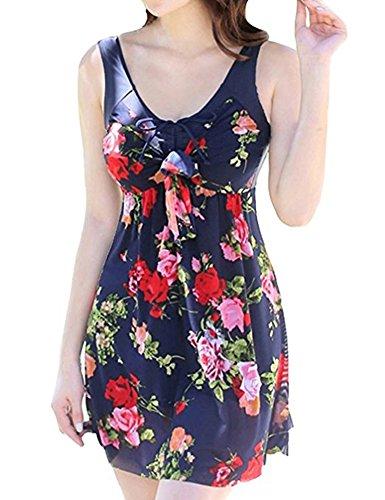 Wantdo Women's Solid Halter One Piece Dress swimsuit Cute Bathing Wear Dress