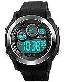 Digital Sports Watch Electronic Waterproof LED Military Big Face Light Black Teenager Boy's watch (silver)