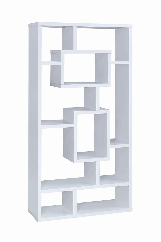 Coaster Home Furnishings CO- 10-Shelf Rectangular Bookcase, White