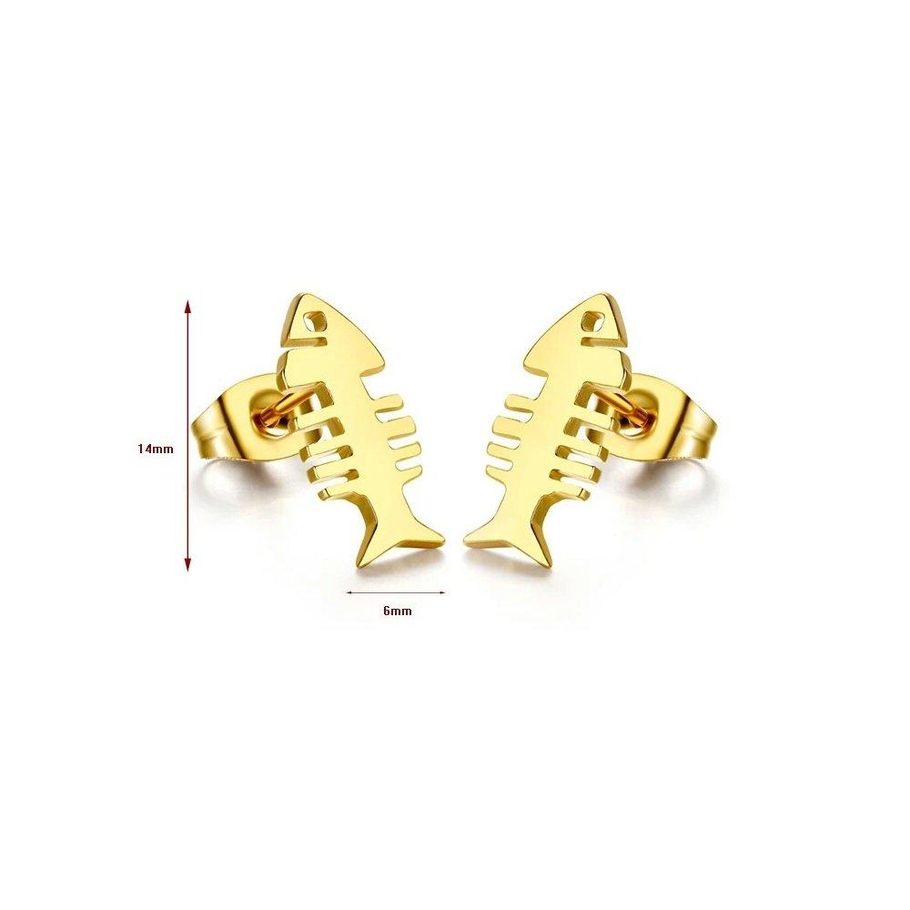 Gold Stainless Steel Fish Bone Fashion Earrings Women Jewelry