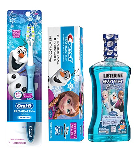 Disney Frozen Pro Health Jr All Inclusive 3pc. Bright Smile Collection! Includes Battery Powered Toothbrush & Disney Frozen Crest Minty Breeze Toothpaste! Plus Bonus Frozen LISTERINE SMART RINSE Anticavity Fluoride Rinse by Crest