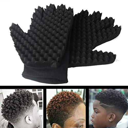 Coohole Curl Hair Sponge Gloves for Barbers Wave Twist Brush Gloves Styling Tool For Curly Hair Styling (Right) by Coohole (Image #3)