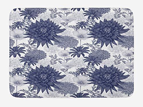 - Graffiti-AOka Dahlia Flower Bath Mat, Dotted Digital Paint of Dahlia Botanical Curved Rolled Wild Ray Blunts Design, Plush Bathroom Decor Mat with Non Slip Backing, Blue White,15.7X23.6 inch
