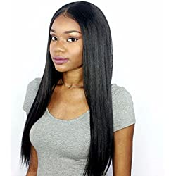 Premier 360 Lace Frontal Wigs Human Hair Brazilian Hair Wigs for Women Light Yaki Straight Long Human Hair 360 Full Lace Wig Pre Plucked Lace Wig with Baby Hair Natural Color 18 inches Free Part Wig