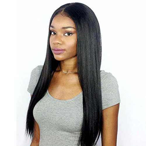 ntal Wigs Human Hair Brazilian Hair Wigs for Women Light Yaki Straight Long Human Hair 360 Full Lace Wig Pre Plucked Lace Wig with Baby Hair Natural Color 18 inches Free Part Wig ()
