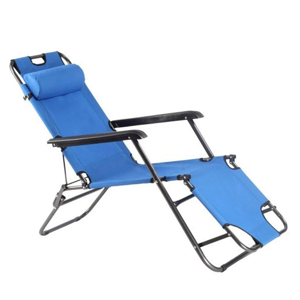 MISHUAI Klappbett, Strand Sonnenliege Oxford Tragbare Klappbett Liege Patio Garten Outdoor Camping Bett Blau Einfache Stapelung und Lagerung (Farbe : Blau, Größe : 178x51x79cm)
