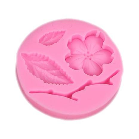 Lumanuby Fondant molde de silicona Melocotón flor rama forma redonda molde pasteles galletas Jelly Ice Muffin