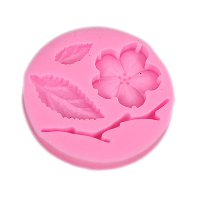 CAOLATOR Blumen Silikonform Fondant Form 3D Pfirsichblüte und Blatt Silikon Backform Marzipan Tortendeko Ausstecher Seife Dek