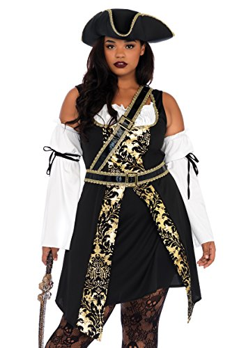 Leg Avenue Women's Plus Size Black Pirate Costume, Gold, 1X / -