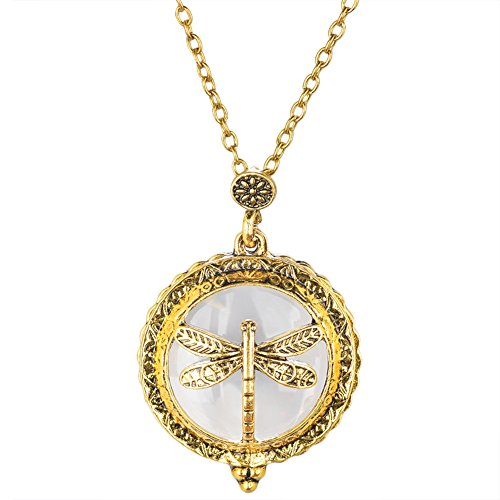 PHD LTD 6 Style Personality Retro Dragonfly Round Glass Sweater chain Pendant Necklace Magnifying Glass Series For Sweetheart Necklace