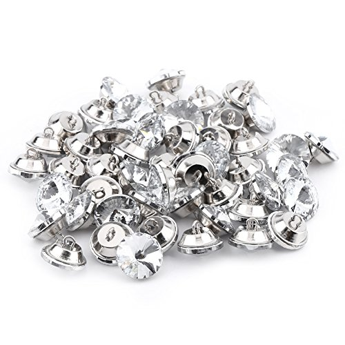 Acrylic Rhinestone Buttons,50pcs Crystal Upholstery Sewing Buttons with Metal Loop Base Sewing Sofa DIY Handmade Craft Decoration (Gorgeous Glass Strand Necklace)